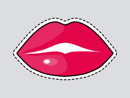it is full: Red Full Woman Lips. Cut it out. Isolated Icon Illustration