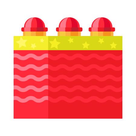 Red Box with Ground Bloom Flower. Firework element. Illusztráció