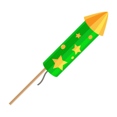 Green Exploding Rocket with Golden Stars Isolated