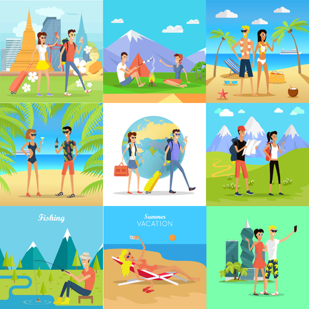 seacoast: Set of People on Vacation Vector Flat Concepts