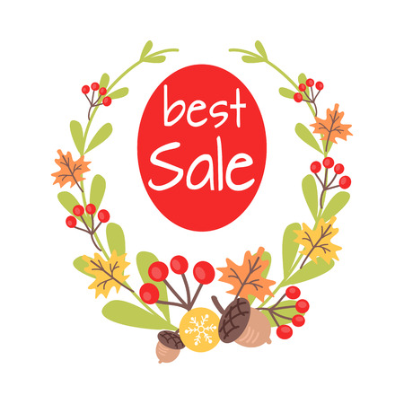 guelder rose: Christmas Best Sale Icon Surrounded by Wreath Illustration