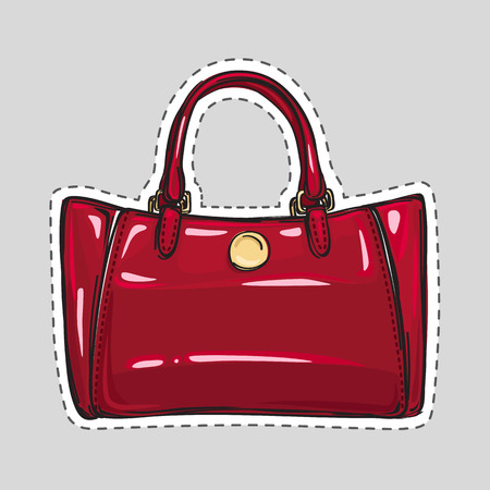 Woman Dark Red Bag Patch in Flat Style