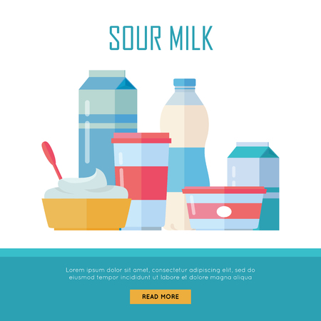 milk products: Set of Traditional Dairy Products from Sour Milk