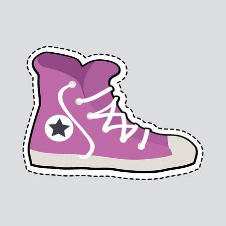 Violet Sport Footwear Patch Shoes with Dashed Line Illustration