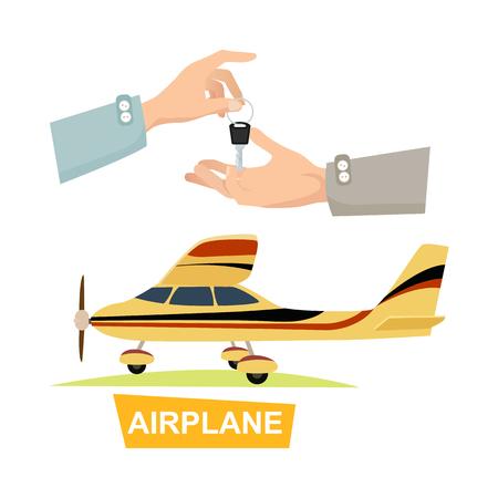 Hand Passing Key. Process of Buying Airplane. Иллюстрация