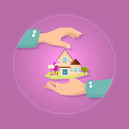 gable: Beautiful house with garden on pink background.