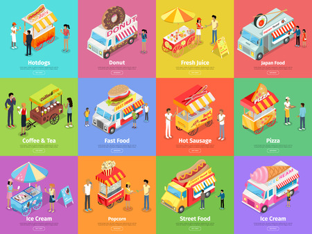 rubbish cart: Street Food Stores Isometric Vector Banners