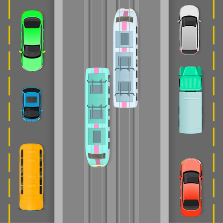 city view: City Traffic on Top View Flat Vector Concept Illustration