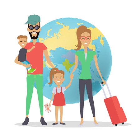 Happy Family Trip Traveling Concep Illustration