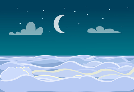 heaven: Winter Scenery of Field on Dark Night Background Illustration