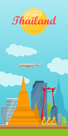 Travel to Thailand Vector Concept in Flat Design Illustration