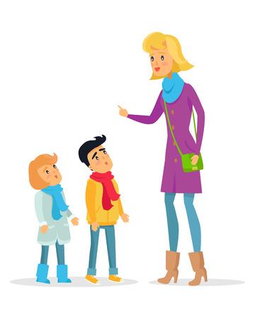 Woman Explaining Rules for Attentive Children Vector Illustration