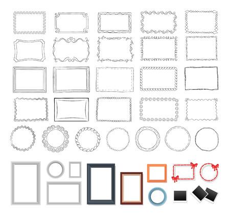 Set of Round, Rectangular, Black and Colour Frames