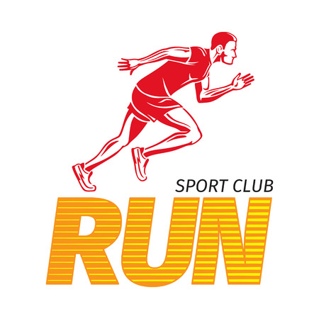 Run Sport Club. Jogging Man. Fast Jogger. Vector