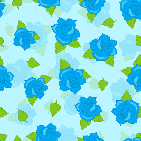 Blue Rose with Green Leaf Seamless Pattern Vector Illustration