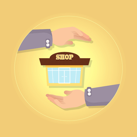 Nice Brown and Yellow Shop on Yellow Background. Illustration
