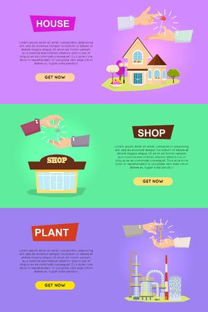 House. Shop. Plant. Hands Passing Keys. Purchases Иллюстрация