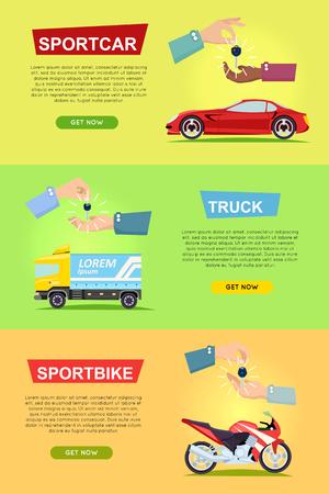 Sportcar. Truck. Sportbike. Hands Passing Keys
