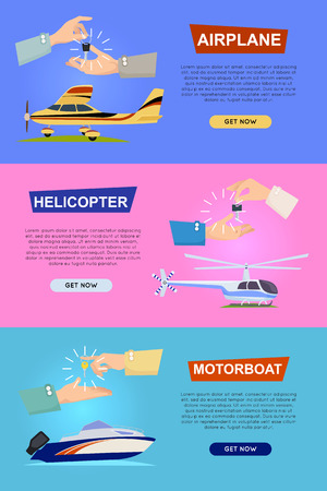 Airplane. Helicopter. Motorboat. Hands Passing Key