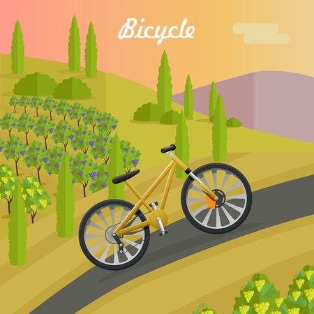 Racing Yellow Bicycle on the Asphalt Track. Vektorové ilustrace
