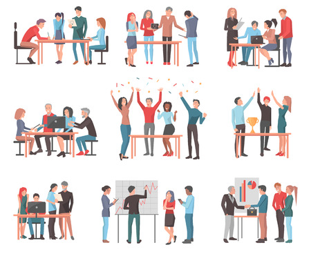 Set of Teams Discussing Idea and Celebrating. Illustration