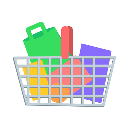 Shopping Basket with Goods Flat Vector Icon Ilustrace