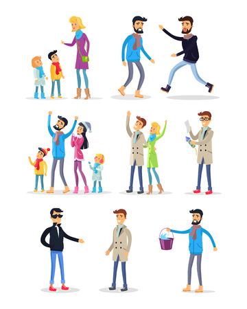People Spending Holidays and Celebrating New Year Illustration