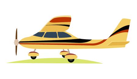 Modern Yellow Aeroplane on White Background. Illustration