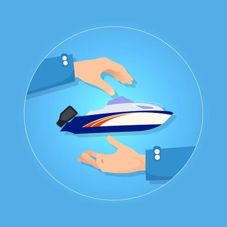 Blue and Orange Speed Motorboat on Blue Background