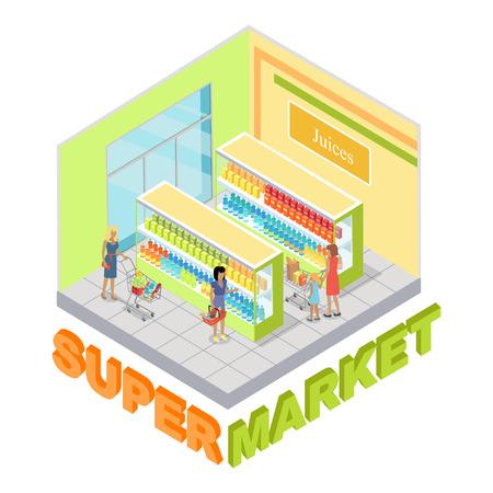 Supermarket Juices Department Isometric Vector Illustration
