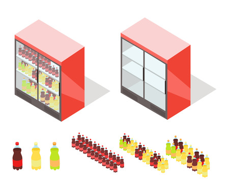 furniture store: Drinks in Groceries Showcase Isometric Vector Illustration