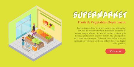 Supermarket Fruits Vegetables Department Banner