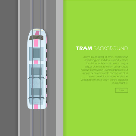 Tram Background Conceptual Flat Vector Web Banner