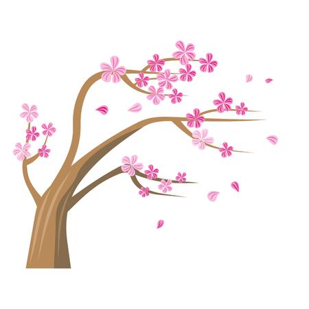 핑크 꽃과 사쿠라 나무 일러스트