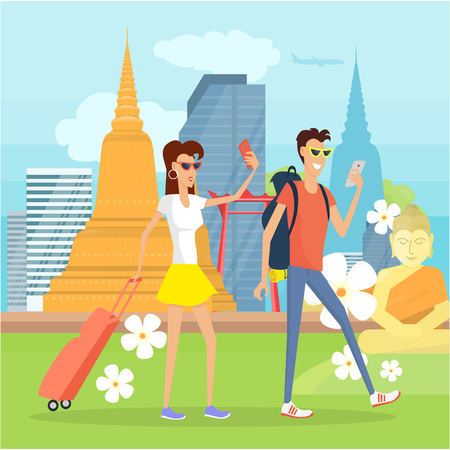 People on Vacation in Thailand with Mobile Devices Illustration