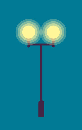 Isolated Street Lamp. Evening. Bright Illumination Illustration