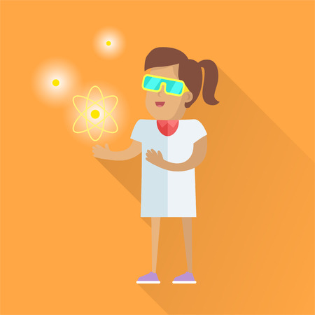 Scientist at Work Vector Flat Style Illustration