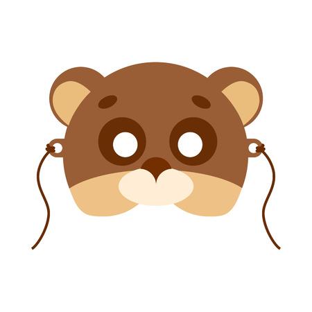 Bear Animal Carnival Mask. Brown and Beige Teddy Vektoros illusztráció