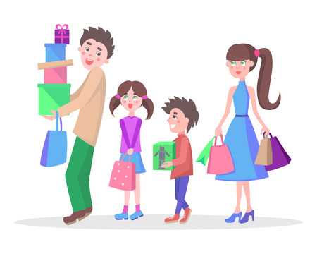 buying: Family Shopping Cartoon Flat Vector Concept