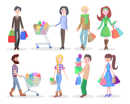 Shopping People Flat Vector Characters Set Vectores