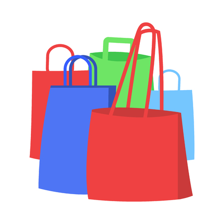 Group of Colorful Shopping Bags Flat Vector Icon