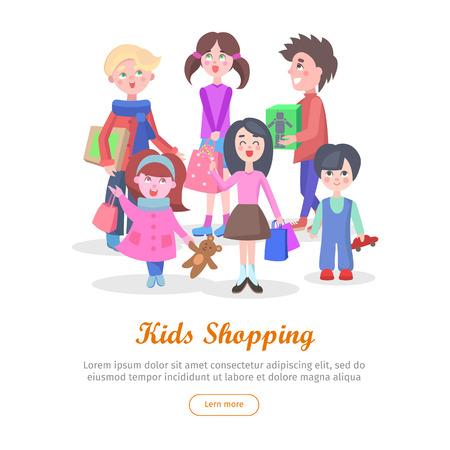 Kids Shopping Conceptual Flat Vector Web Banner