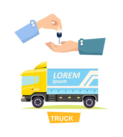 Hand Passing Key. Process of Buying, Renting Truck Illustration