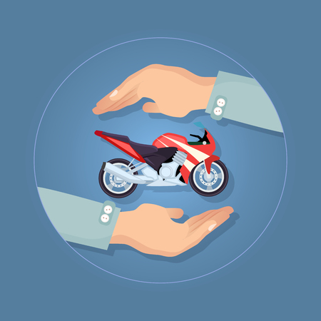 Modern Motorbike Insurance, Service Company Logo. Illustration