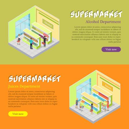 Supermarket Departments Isometric Web Banners Set