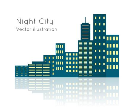 penthouse: Night City Vecor Illustration on White Backgrpund.