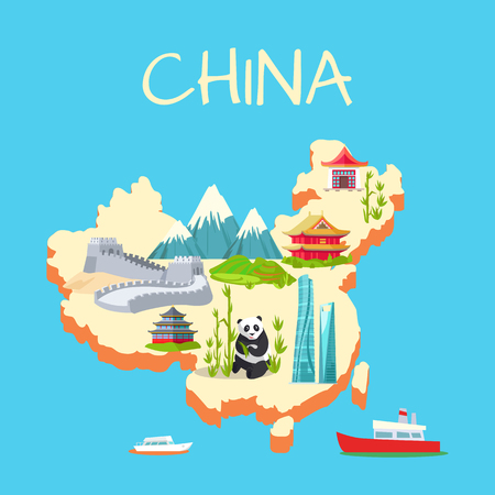 China with its Traditional Elements Signs on Blue Illustration