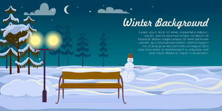 body scape: Snowman and Bench on Winter Background. Dark Night