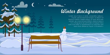 Snowman and Bench on Winter Background. Dark Night