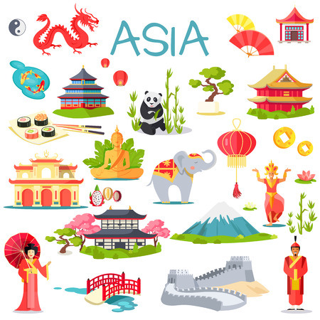 Asia Collection of Symbolic Elements on White